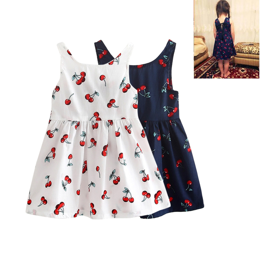 Girls Summer Dresses Kids Cotton O-neck Short Sleeeve Cherry Print Bow Decor Backless A-line Princess Cute Dresses Child Clothes