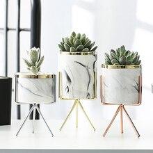 Нордическая керамическая железная художественная ваза с мраморным узором, розовое золото, серебро, Настольная зеленая Цветочная горшочка для дома, офиса, декоративные вазы