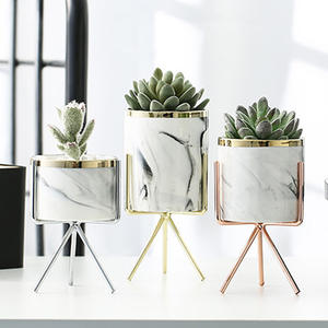 Vase Decorative Flower-Pot Tabletop Marble-Pattern Rose-Gold Office Nordic Ceramic Silver