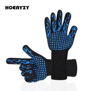 Image 1 - 1 paar Fire Isolatie Veiligheid Handschoenen 500 Celsius Hittebestendige Aramid Handschoen Aramid Grill BBQ Handschoen Oven Keuken Handschoen 4 kleur