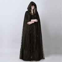 Cosplay queen vampire death ghost lace cloak punk women's long black gauze cloak adult halloween carnival witch cape clock