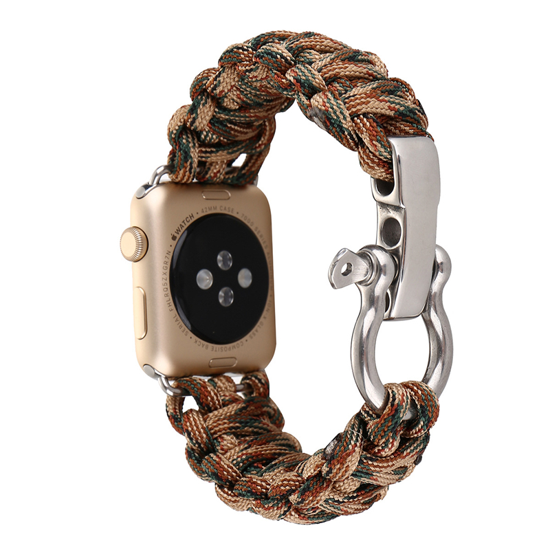 Woven Nylon Rope Watchband for Apple Watch iwatch 1 2 3 38mm 42mm Military Tactical Parachute Cord Survival Band Strap Outdoors