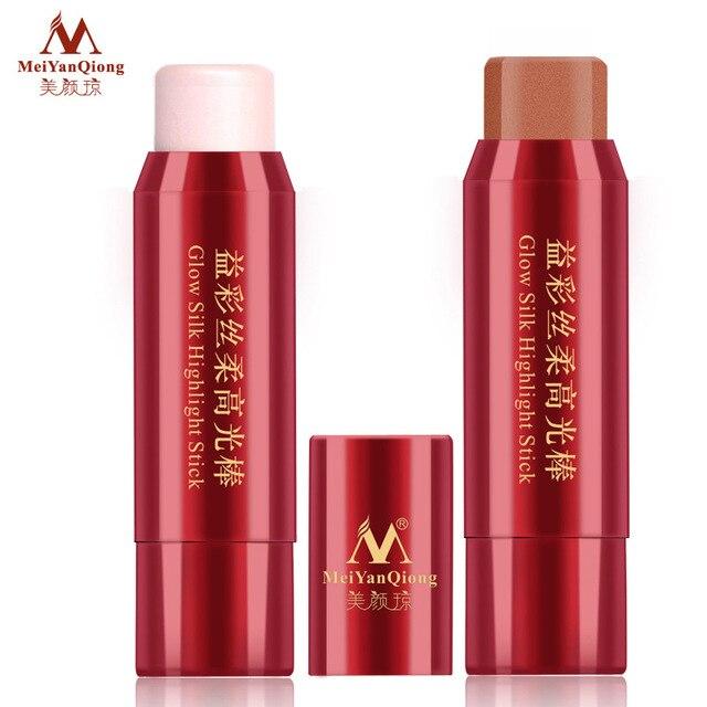 Meiyanqiong shimmer highlighter Fundación Bronzer Contour cosmética 3D impermeable Cara Cream highlight maquillaje glow Kit