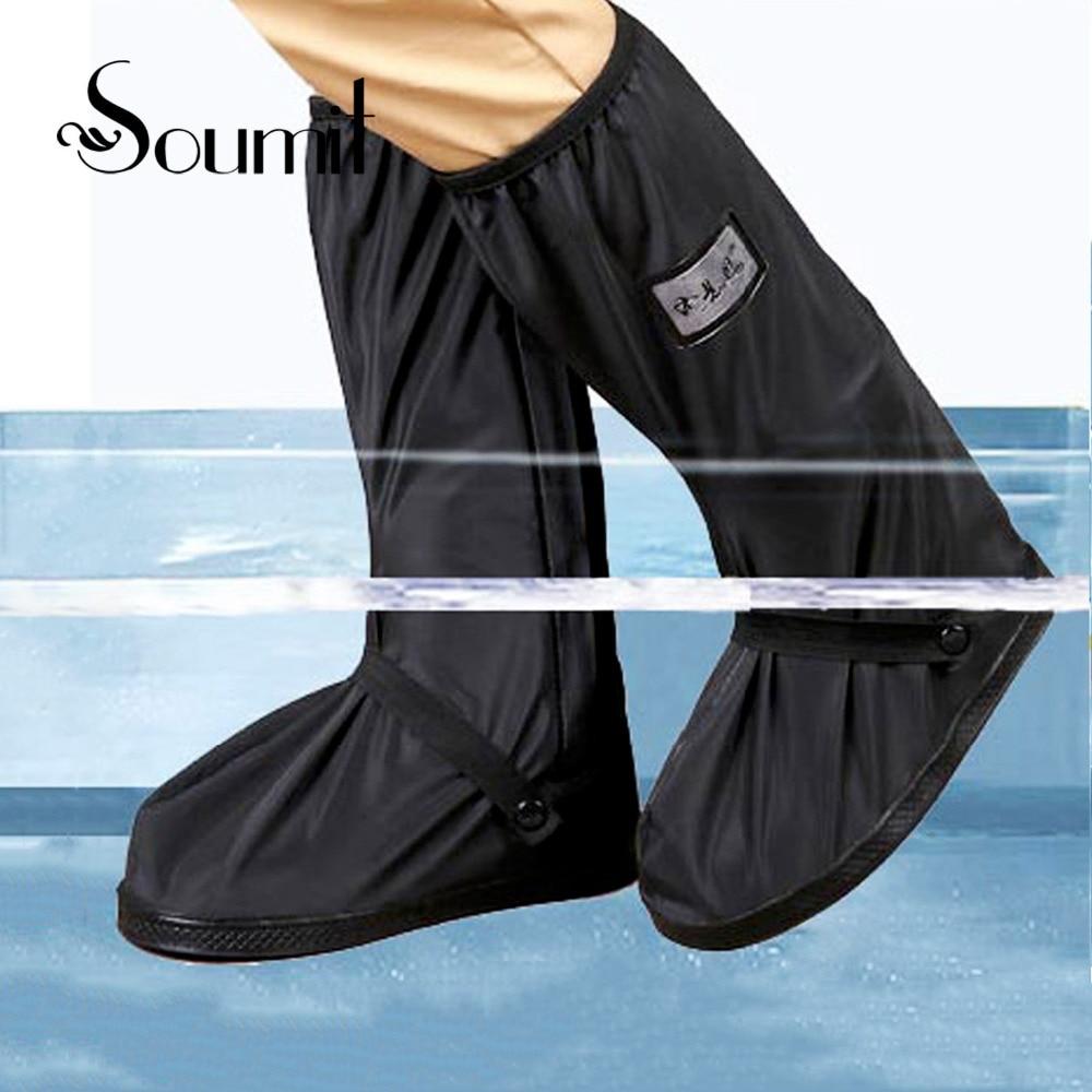 Soumit impermeable cubierta del zapato de la lluvia para la motocicleta ciclismo en bicicleta hombres mujeres reutilizable bota zapatillas botas zapatos protector cubre