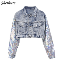 2019 Fashion Design Punk Style Women Spring Jacket Coat Sequins Sleeve Women Denim Long Jacket Coat Crop Tops Abrigos Mujer