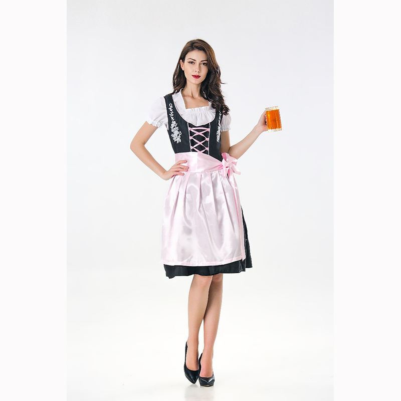 New 2018 Oktoberfest Costume Sexy Black Girl Dress with Pink Apron Lady Halloween Costume Wench Germany Dirndl For Adult Women