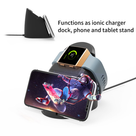 VOGEK Wireless Magnet Charger for Fitbit Lonic, USB Power Charging Dock Charger Station Cradle for Fitbit Watch & Phone Stand Lahore