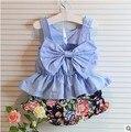 2017 llegó el nuevo estilo que arropan los niños del bebé del verano niñas juegos de los cabritos ropa linda dress + briefs 2 unids conjunto meninas