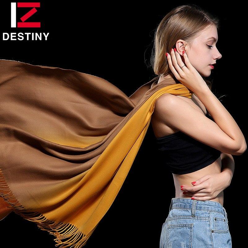 Destiny Для женщин шарф женский Элитный бренд Шарфы для женщин зимние модные леди Бандана шаль палантин пашмины Кашемир двойной Цвет градиент
