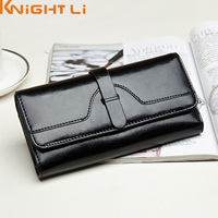 New Oil Genuine Leather Three Fold Wallet Long High Grade Leather Wallet For Women Lady S