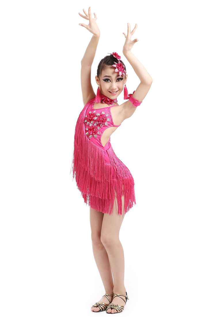 Show details for New Girls Tassel Latin Dance Dress Children Yellow/Red Sequined Tango/Rumba Costumes Practice Dress Dance Competition Costumes