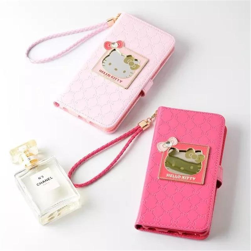 Цена за Для iPhone 6 6 S 7 4.7 'роскоши зеркало Hello Kitty бумажник Искусственная кожа флип стент много Разъем карты Чехол для iPhone 6 6 S 7 Plus 5.5'