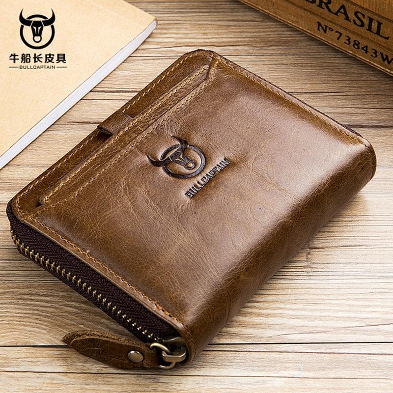BULLCAPTAIN Men Wallet Cowhide Leather Coin Purse Card Holder Pocket Wallet 2018