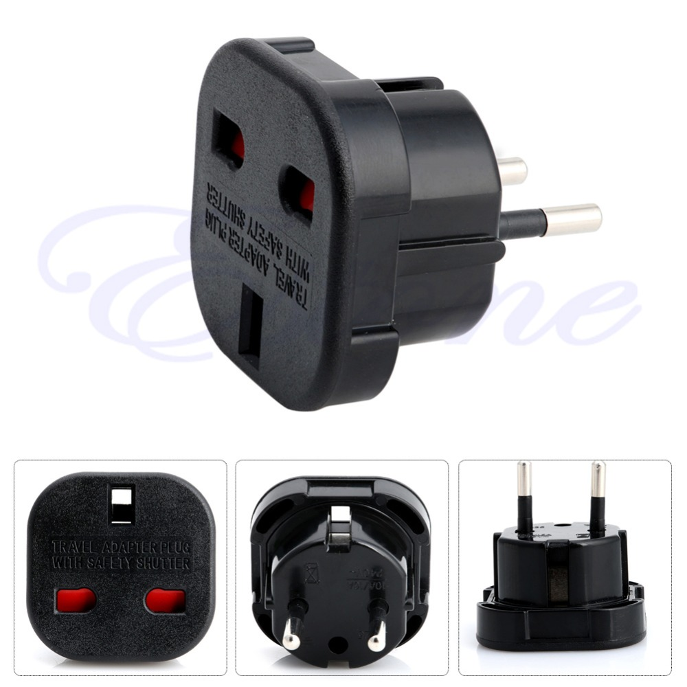 1 PC High Quality Travel UK to EU Euro Plug AC Power Charger Adapter Converters Socket Black
