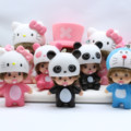 2016 New Cute Little Panda Lady Keychain Meng Qiqi Fashion Car Accessories Meng Kiki Cartoon Car Keychain The Car Key Ring Woman