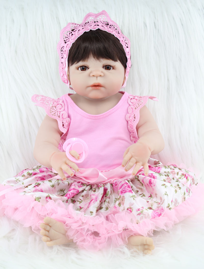 55cm Full body silicone reborn baby girl doll toys lifelike newborn princess babies doll child birthday gift kids bathe toy full silicone body reborn baby doll toys lifelike 55cm newborn boy babies dolls for kids fashion birthday present bathe toy