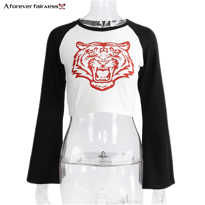 A Forever 2017 Autumn Women's Tiger Print Head T-Shirt Patchwork Long Sleeve Tops Navel Exposed Sexy Slim Fit Short T Shirt M532