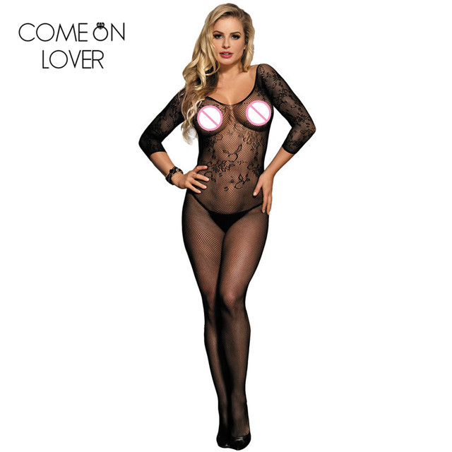 Comeonlover Transparent Women Sexy Body Stockings Black White Porn Lingerie Bodysuit Half Sleeve Bodys Women Sexy