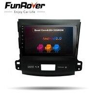 Funrover 9 Android 8,0 автомобильный dvd радио плеер для Mitsubishi Outlander 2014 2006 автомобильный gps навигация авто радио Мультимедиа Стерео