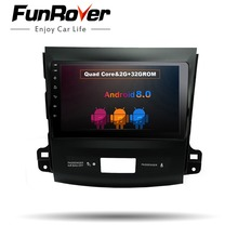 Funrover 9″ Android 8.0 Car dvd radio Player for Mitsubishi Outlander 2006-2014 Car GPS Navigation Auto Radio Multimedia Stereo