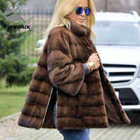 Furealux Real Mink Fur Coat For Women Warm Stand Collar Side Zipper Fur Jackets Sleeve Detachable