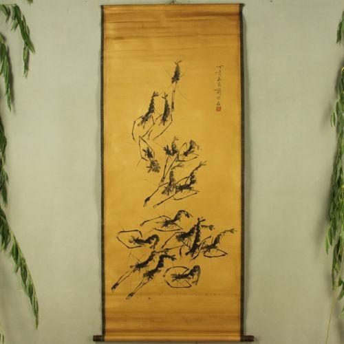 Exquise collection d'antiquités chinoises Imitation ancienne photo de crevettes Qi Baishi