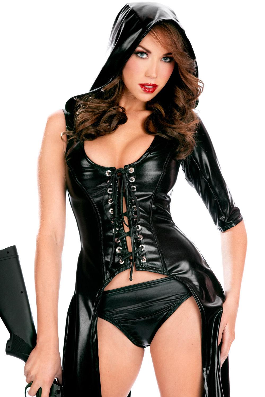 Dame Gothic Fashion Svart PVC Faux Leather Bustiers Costume Club Wear - Kvinneklær - Bilde 4