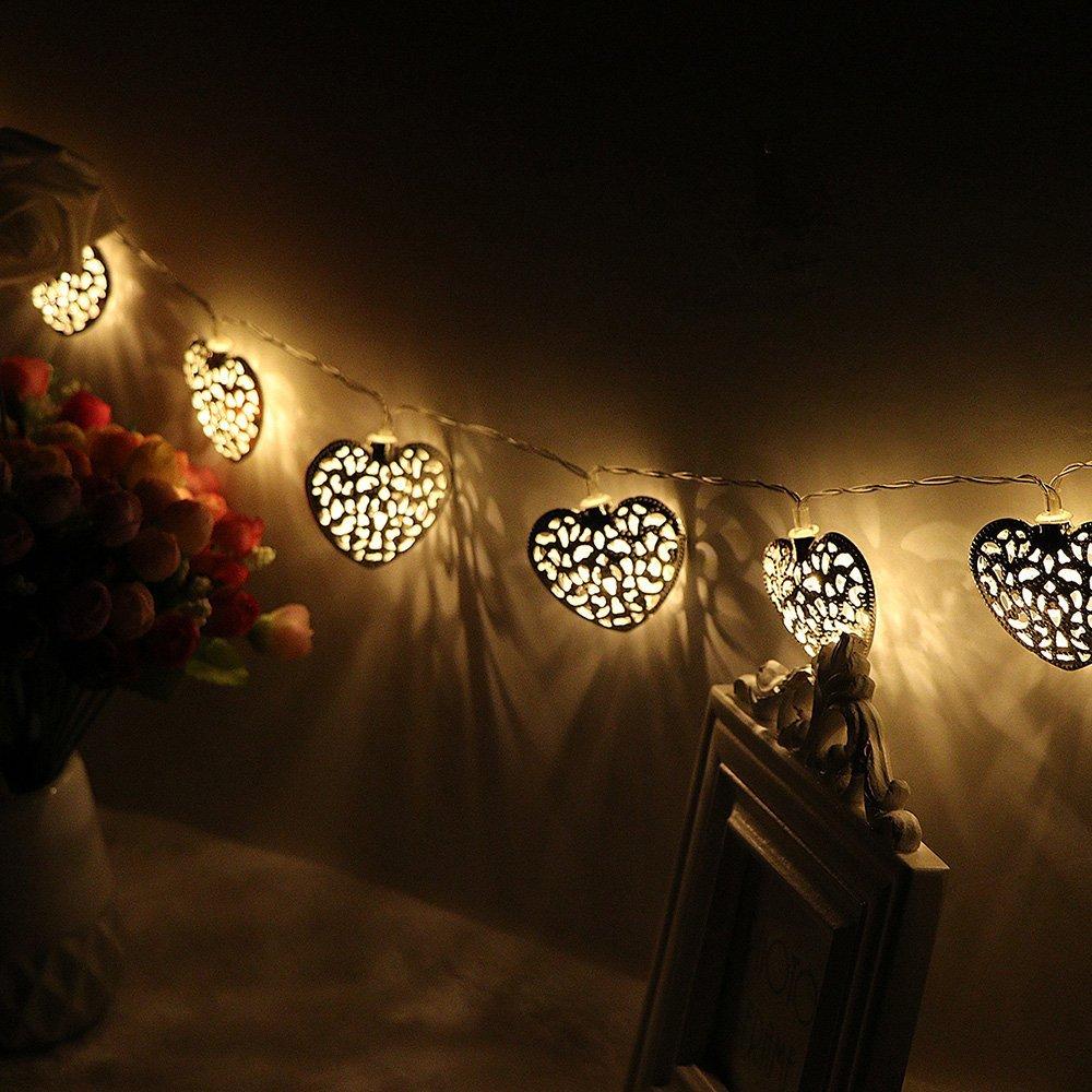 Goud Zilver Metaal Hartvorm Werkt op Batterijen 10 LED - Vakantie verlichting - Foto 4