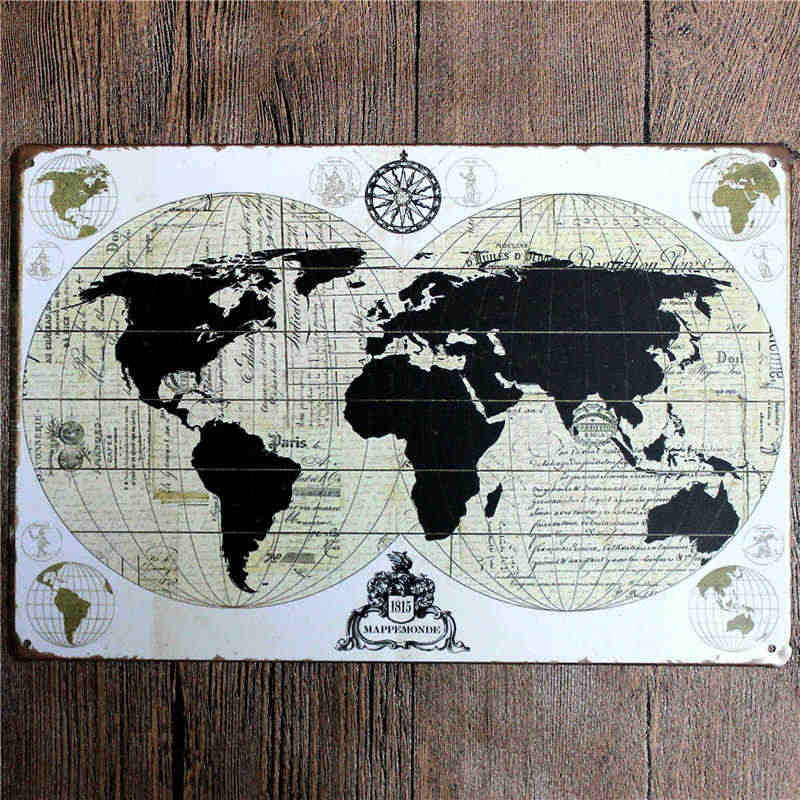 Detail Feedback Questions About Metal World Map Vintage Plates Tin