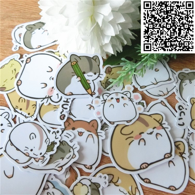 40 Pcs Sprout Hamster Expression Diy Sticker For Skateboard Luggage  Phone Styling Home Toy Cartoon Waterproof Stickers