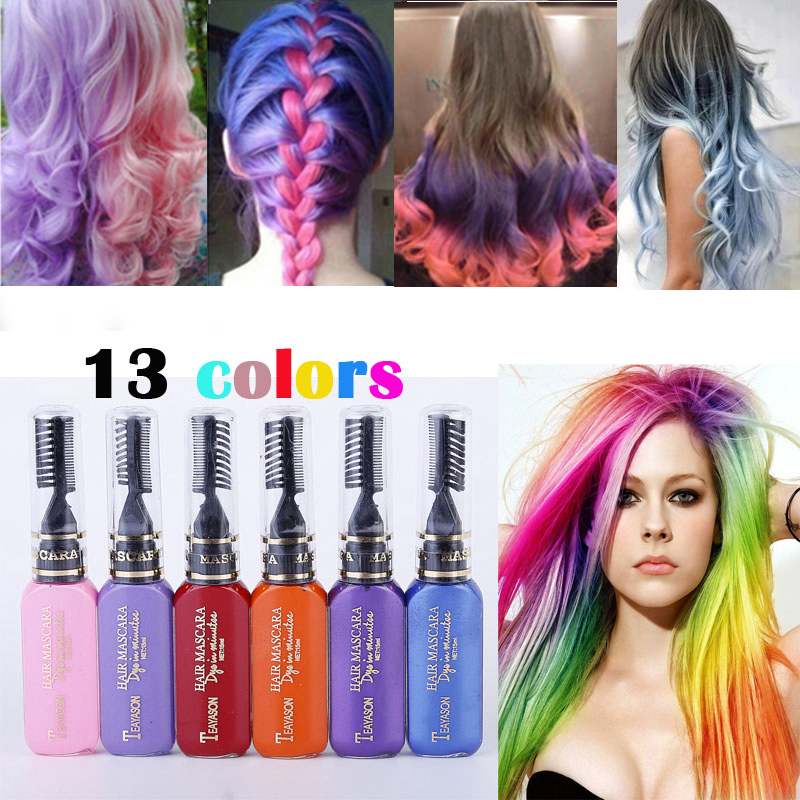 13 Colors One-time Hair Color Hair Dye Temporary Non-toxic DIY Hair Color Mascara Dye Cream Blue Grey Purple Fashion Party 1PC