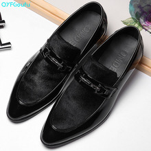 QYFCIOUFU Patent Leather Men Loafers Fashion Suede Slip On Shoes Men Party And Prom Shoes Handmade Boat Shoes Men's Dress Flats