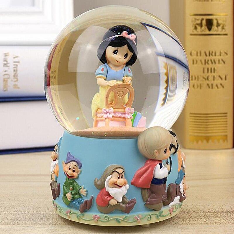 Resin Music Box Crystal Snowflake Ornament Decor Wedding Gift Of White Princess Girls Present.