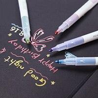 10 шт./лот металлик Микрон ручка подробные маркировки цвет металла маркер для альбом черной бумаги школа рисования товары для рукоделия 6614