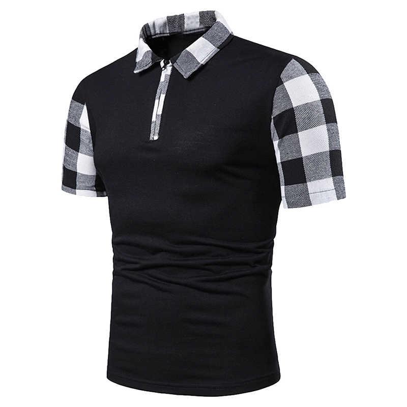 Новая летняя Клетчатая полосатая рубашка поло для мужчин с коротким рукавом рубашки поло Slim Fit мужские s Повседневная Лоскутная одежда уличная