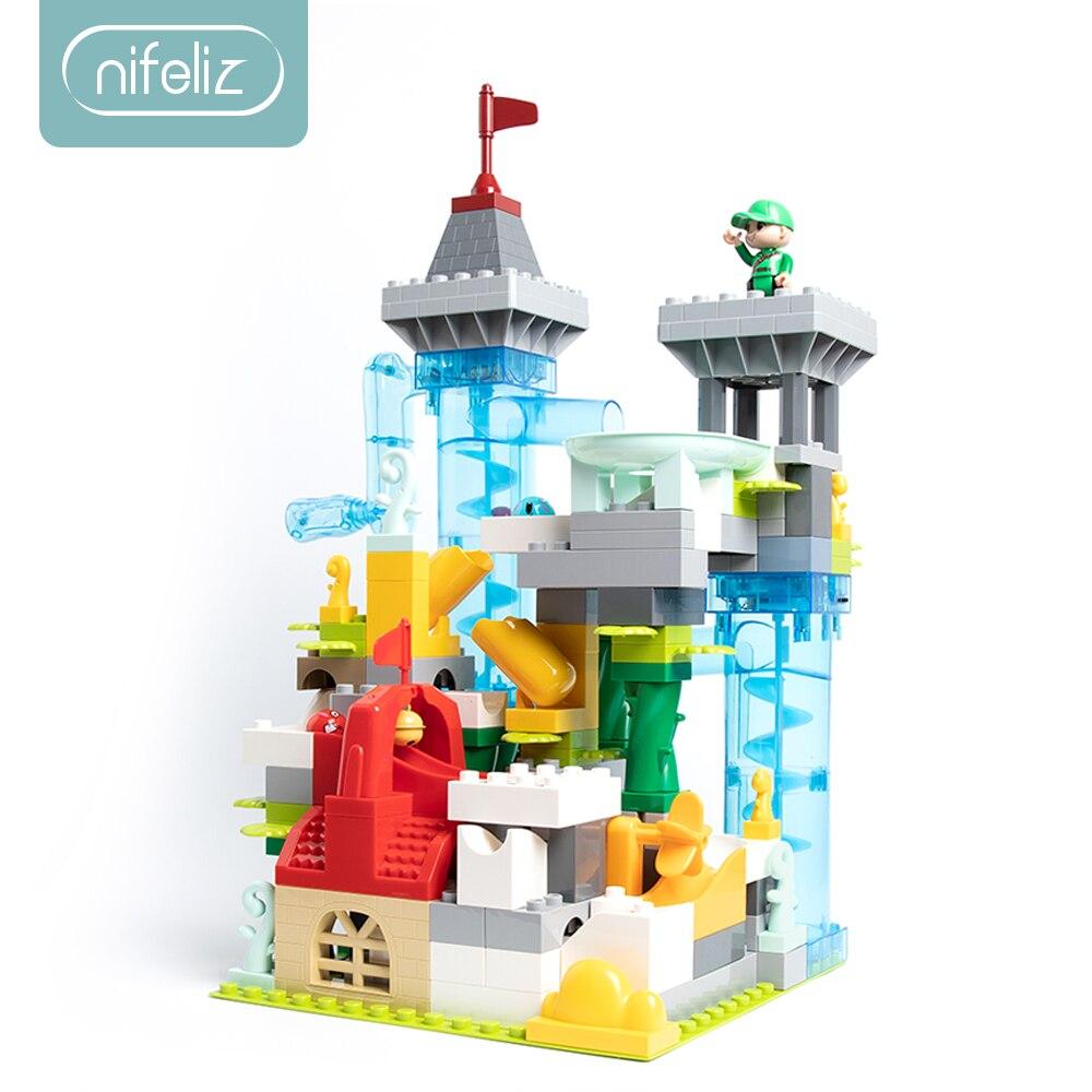 154 pièces moteur marbre course course labyrinthe balle piste blocs de construction entonnoir glisser assembler briques compatibles LegoINGlys Duploe blocs