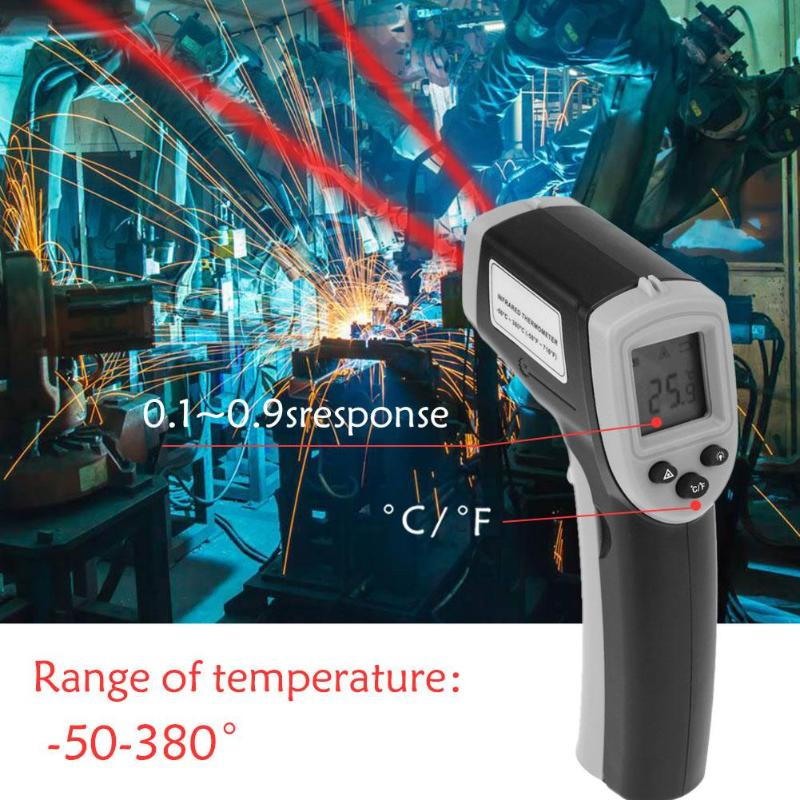 Handheld LCD Digital Non-Contact Thermometer Gun IR Infrared Thermometer Temperature Laser Gun -50~380 Degree Meter Gun Point an550 laser lcd digital ir infrared thermometer temperature meter gun 50 500c 58 1022f non contact temperature meter gun