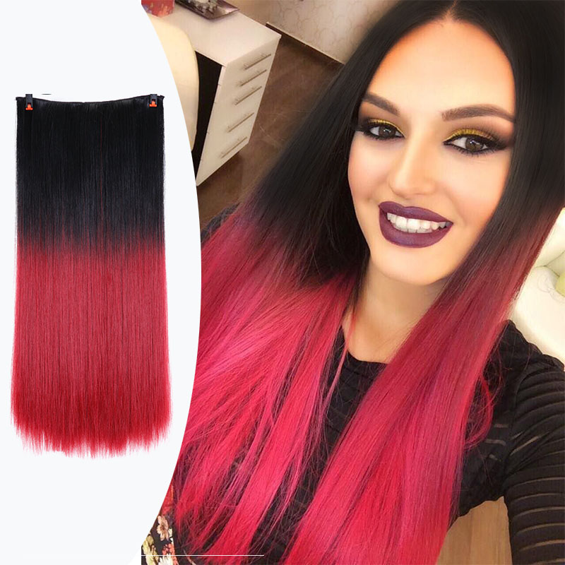 DIFEI 24 Inch Dark Brown 12colors Synthetic Fiber Clips in on Hair Extension One Piece 5 Clips 3/4 Full Head Long Straight Hair