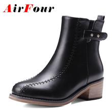 Airfour High Heels Rivets Charms Shoes Woman Ankle Boots for Women Winter Motorcycle Large Size 34-48 Zippers Round Toe
