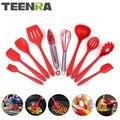 TEENRA 10 шт. набор Красной силиконовой кухонной утвари  кухонные инструменты  кухонная ложка  ковш с прорезями  термостойкий инструмент для при...