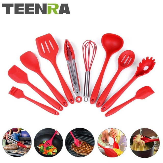 TEENRA 10Pcs Red Silicone Kitchen Utensils Set Cooking Tools Kitchen Spoon  Ladle Slotted Turner Clip Heat