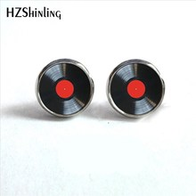 2017 New Arrival Vinyl Record Stud Earrings Round Jewelry Glass Dome CD Record Earrings Music Charms Wholesale HZ4(China)