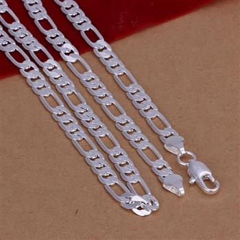 2016 New Top Quality Silver Plated & Stamped 925 4mm Figaro mens chains necklace for women mens jewerly wholesale 16-30inch