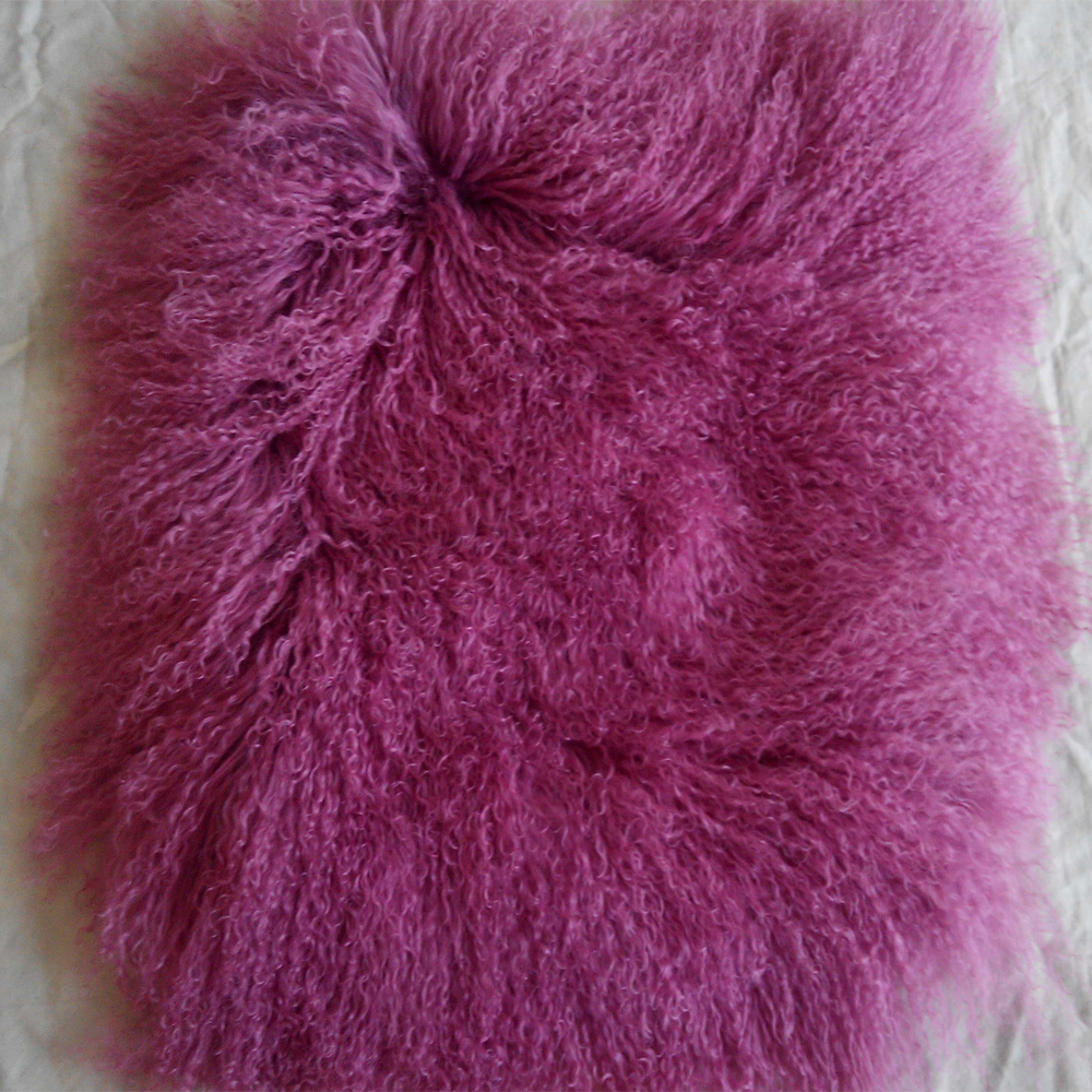 Fur Throw Pillow Covers : Real Violet Mongolian Fur Pillow Cover Decorative Throw Pillows Tibetan Fur Cushion Cover ...