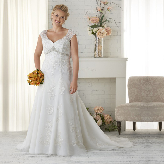 eff165516cdc4 Elegant Lace Plus Size Wedding Dresses Cap Sleeve Empire Beaded Tulle  Mermaid Modern Wedding Dress Plus Size Bridal Gowns PS20
