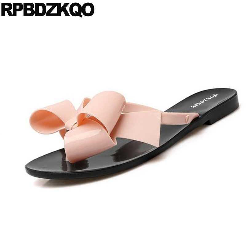 b10c5c0c7 ... Female 2018 Large Size Shoes Pvc Plastic Slides Flip Flop Bowtie Jelly  Cute Women Sandals Flat ...