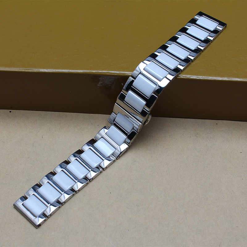 Durable High Quality Ceramic Watchband with stainless steel metal white Black bracelets for diamond watches 16mm 18mm 20mm  hot new 16mm 20mm silver gold metal stainless steel watchband bands strap bracelets for brands watches men high quality accessories