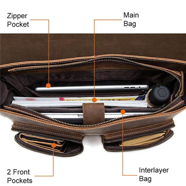Westal negócios maletas saco masculino para advogado vintage cavalo louco couro portátil pastas saco 14 polegada escritório/documento sacos 4