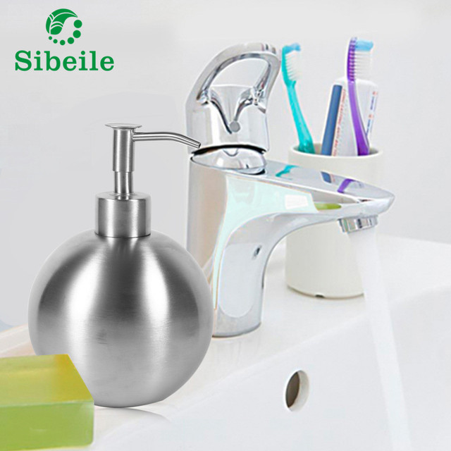 SBLE 500ml 304 Stainless Steel Ball Shaped Liquid Soap Dispenser Bathroom Shampoo  Shower Liquid Pump Dispenser