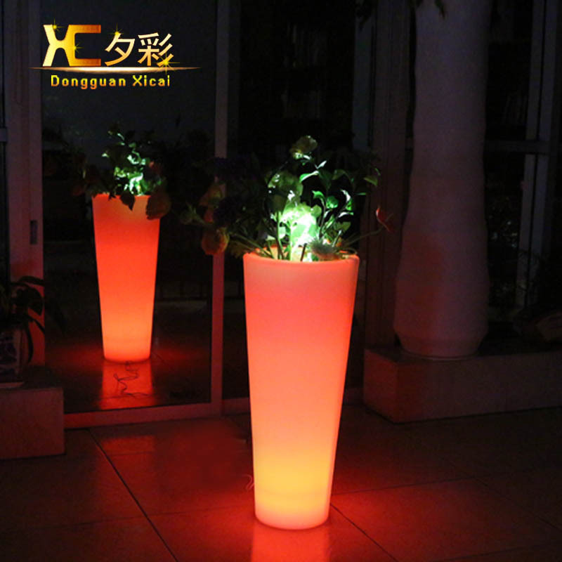 buy large round plastic led flower pot garden home big floor vase decorative. Black Bedroom Furniture Sets. Home Design Ideas